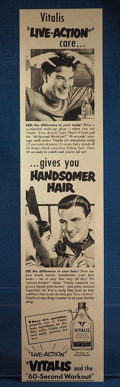 Vintage Magazine Ad Print Design Advertising Vitalis Hair Tonic
