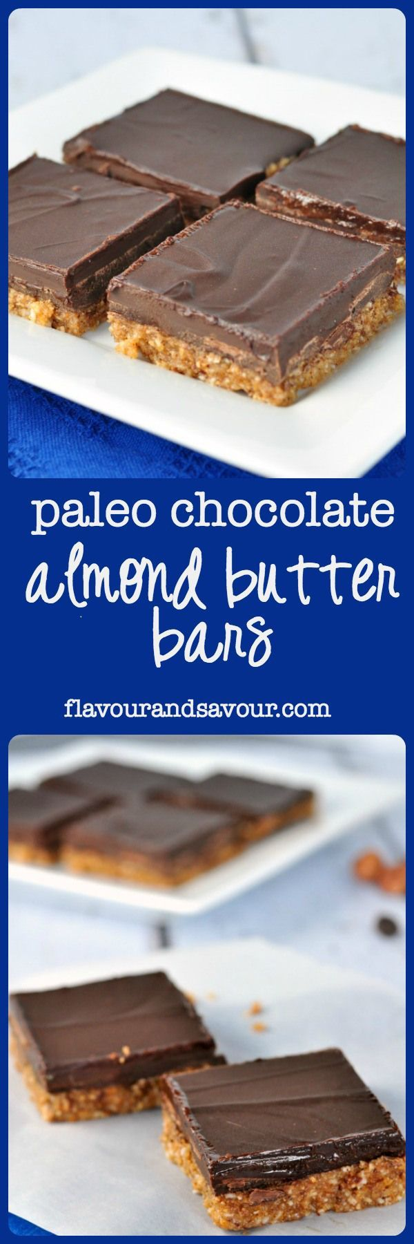 Paleo Chocolate Hazelnut Almond Butter Bars. Do you remember those sweet chocolate peanut butter bars Mom used to make? Try these Chocolate  Almond Butter Bars for a healthier version of an old favourite. No baking required!