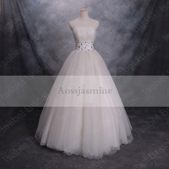 strapless tulle mermaid bridal gown with rhinestone sash hsnw