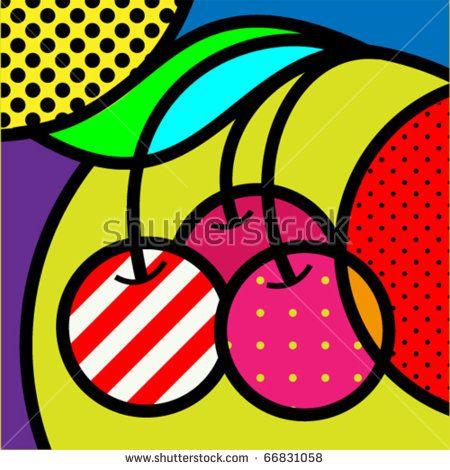 cherry pop-art fruits vector illustration for design