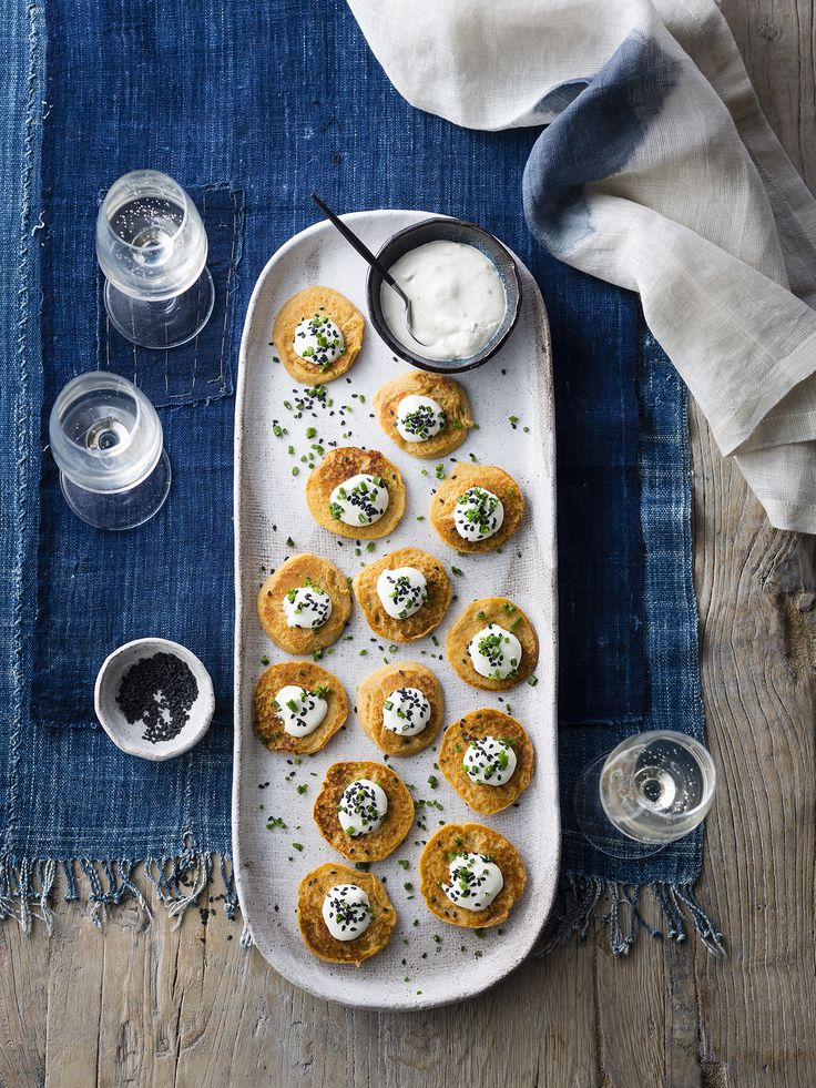 """Thermomix   Sweet potato blini with cumin and sesame creme fraiche   Entertaining with Dani Valent cookbook + recipe chip   """"Party"""" menu plan  """