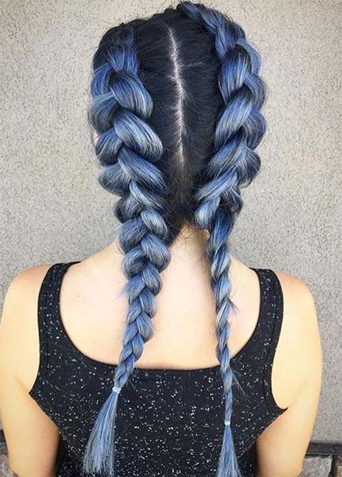 Blue Denim Hair Colors: Double Denim French Braid #denimhair #bluehair