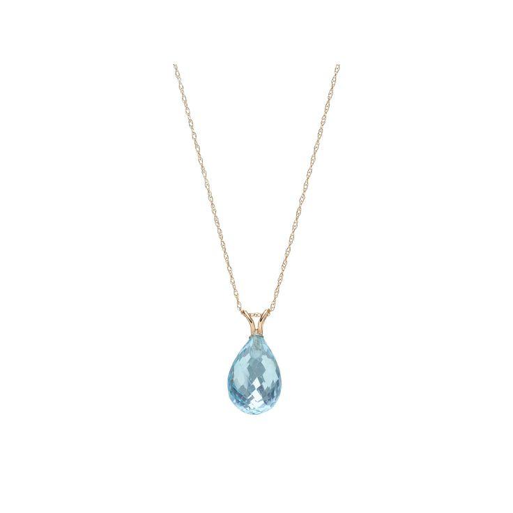 """14k Gold Blue Topaz Briolette Pendant Necklace, Women's, Size: 18"""""""