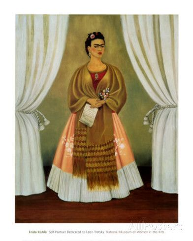"""""""Self-Portrait Dedicated to Leon Trotsky, 1937,"""" by celebrated Mexican artist Frida Kahlo, was her birthday gift to the Russian politician. Kahlo (1907 – 1954) and husband Diego Rivera took Trotsky and his wife into their home after Joseph Stalin chased them into exile. Kahlo and Trotsky began a secret affair, which Kahlo soon ended, although she presented Trotsky with this self-portrait on his birthday. Trotsky left the painting behind when he moved out of Kahlo's house, and the piece is…"""