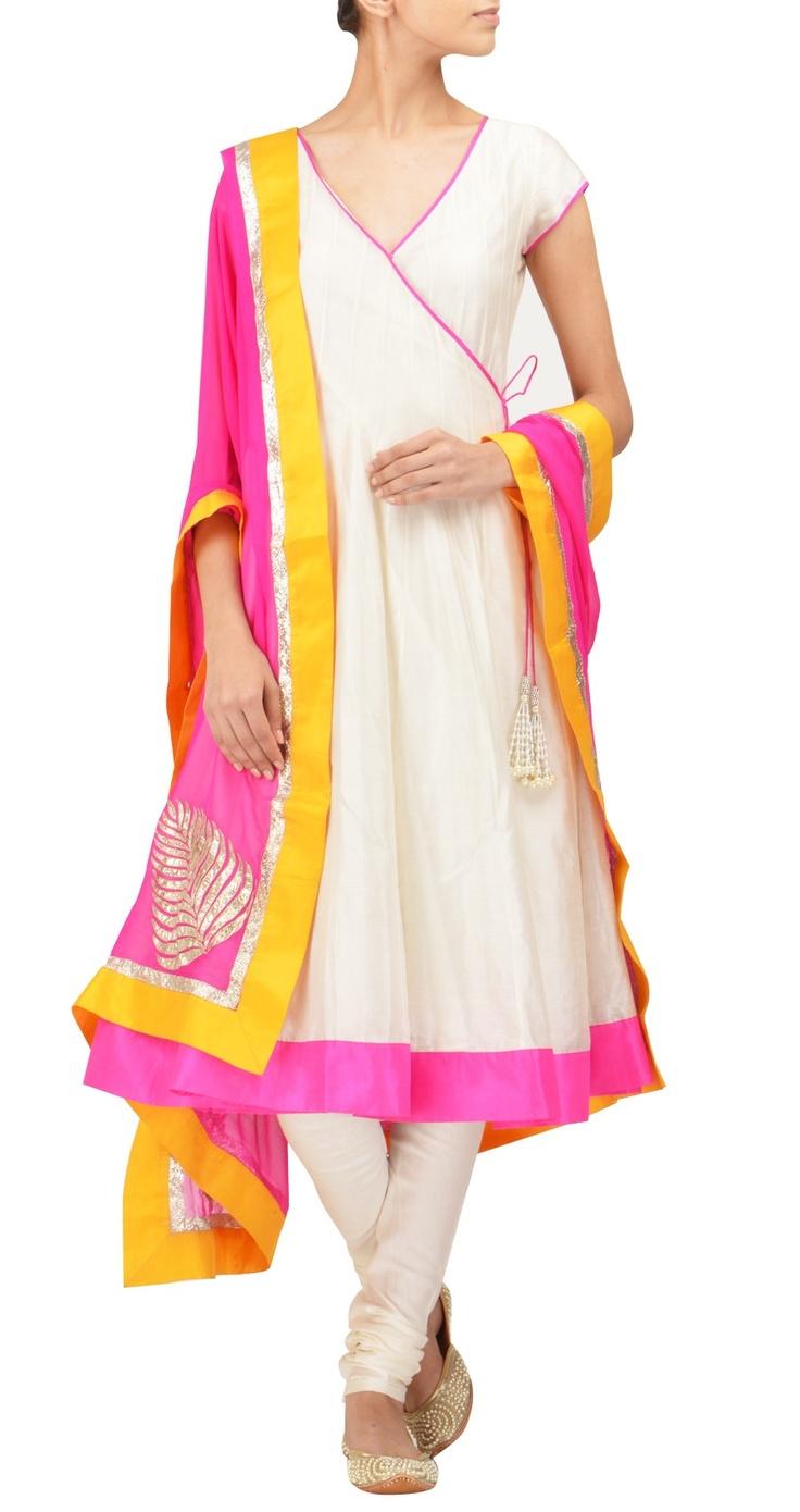 Going gaga over this designer's suits! Amrita Thakur - Ivory chanderi angrakha kurta set
