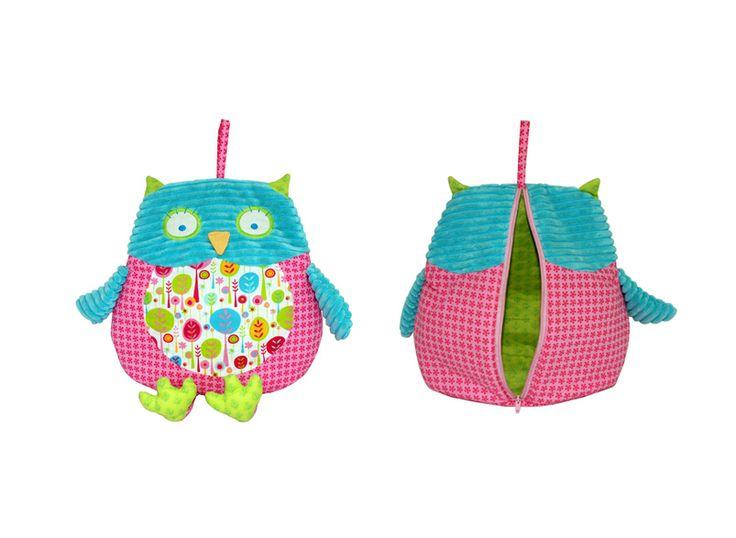 Pillow Pals PJ Bags - Pink-pajama pajamas pyjama pyjamas pj pjs pj's bag bags owl owls storage pink