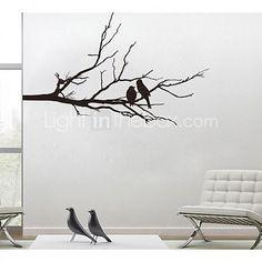 jiubai ™ boomtak en minnaar vogels muursticker muurtattoo - EUR € 28.41