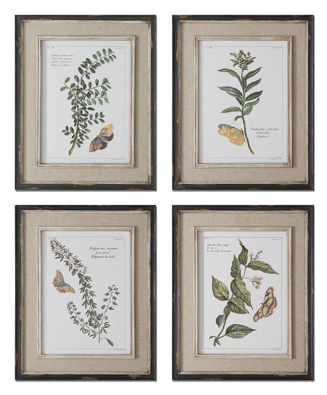 Uttermost 51079 Butterfly Plants Framed Art, S/4