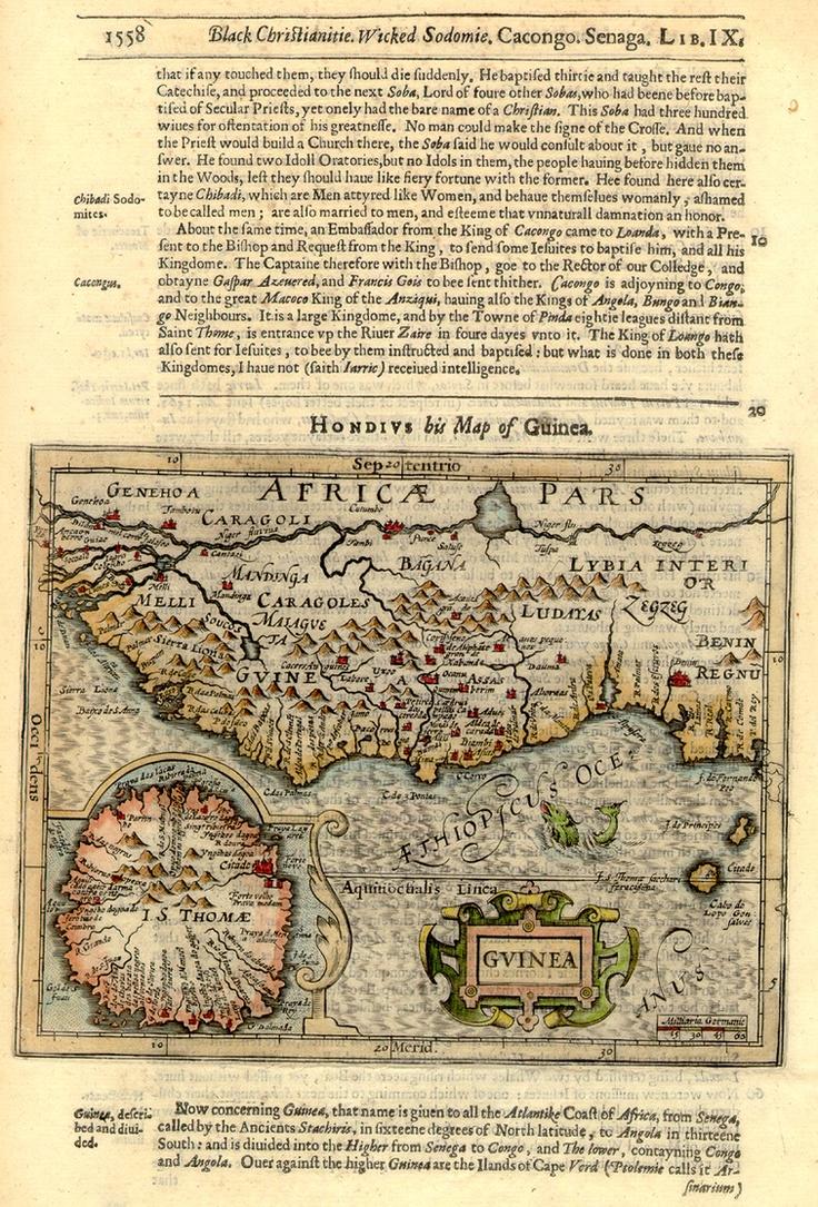 Guinea, Africa - 1625: Antiques Maps, Maps Border, Ancient Maps, Maps Atlases Etc, Modern Guinea, Antique Maps, Vintage Maps Atlas Etc, 1625 Jodocus, 1612 Maps