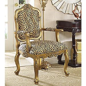 Chair, Leopard Carved from Seventh Avenue ® _ In colors inspired by the savannah, the softest leopard-print lends just the right touch of the exotic to the room. Carved solid wood frame is painted in goldtone.