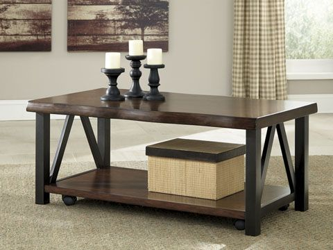 The Esmarina collection is chic with a touch of urban industrial flair, a two-tone coffee and end table from Signature Design by Ashley Furniture.