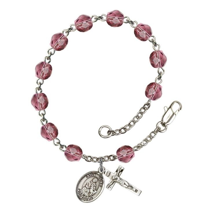 St. Giles Silver Plate Rosary Bracelet 6mm February Purple Fire Polished Beads Crucifix Size 5/8 x 1/4 medal charm. 1/2 x 1/4 inch Silver-Plated Metal with 5/8 x 1/4 inch Crucifix. 7.5 Inch Length, 8 Inch with Clasp. Lifetime No-Tarnish Guarantee. Hand-Made in Rhode Island.