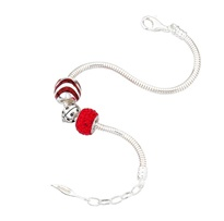 Amore & Baci silver beaded bracelet  #red #ladybird #silverjewelry