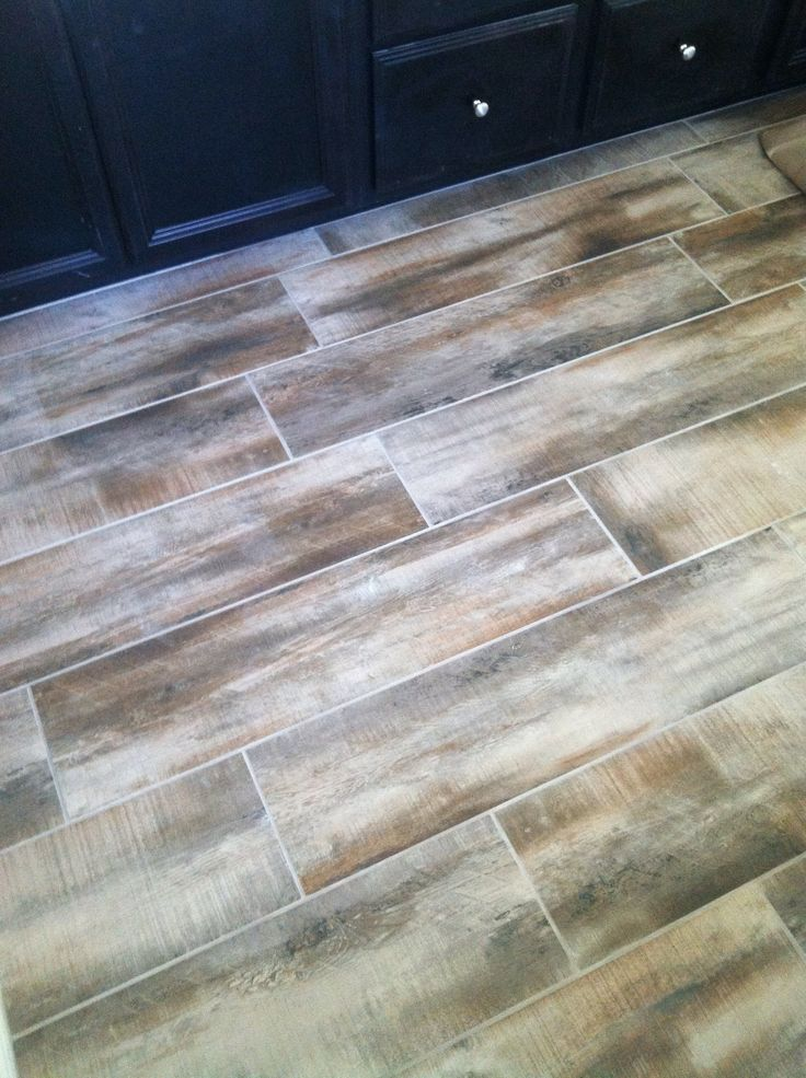Wood Tile In Our Bathroom Antique Amaretto Flooring