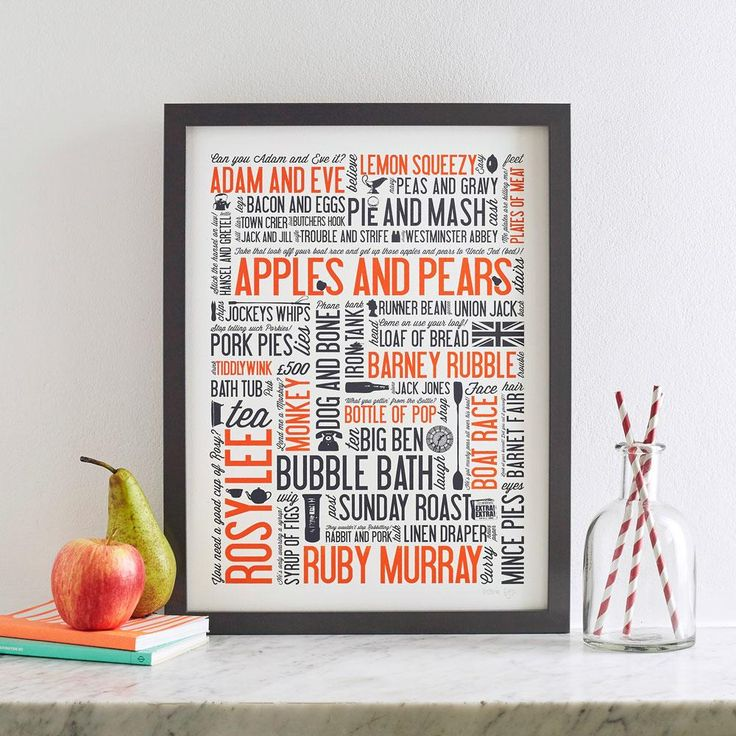Cockney Rhyming Slang Print - Orange