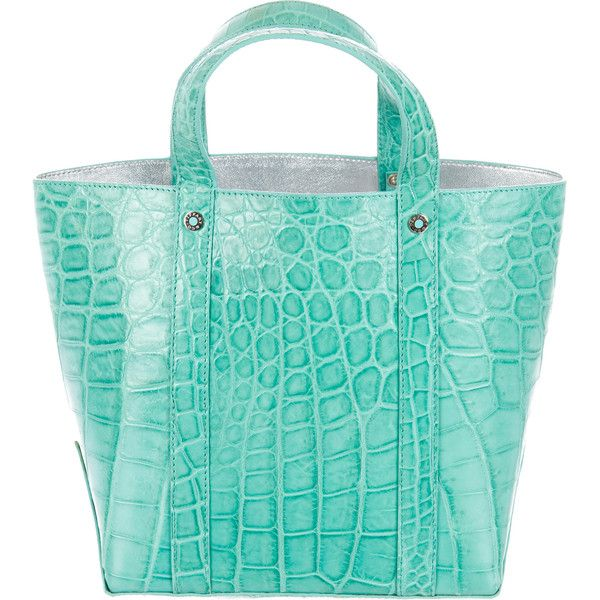 Pre-owned Tiffany & Co. Crocodile Avenue Shopper ($1,395) ❤ liked on Polyvore featuring bags, handbags, tote bags, blue, handbags totes, purse tote, shopping bag, blue purse and blue tote