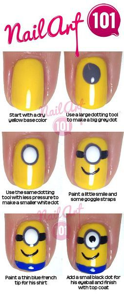 Minion Game Birthday Party Nail Art Designs for Moms