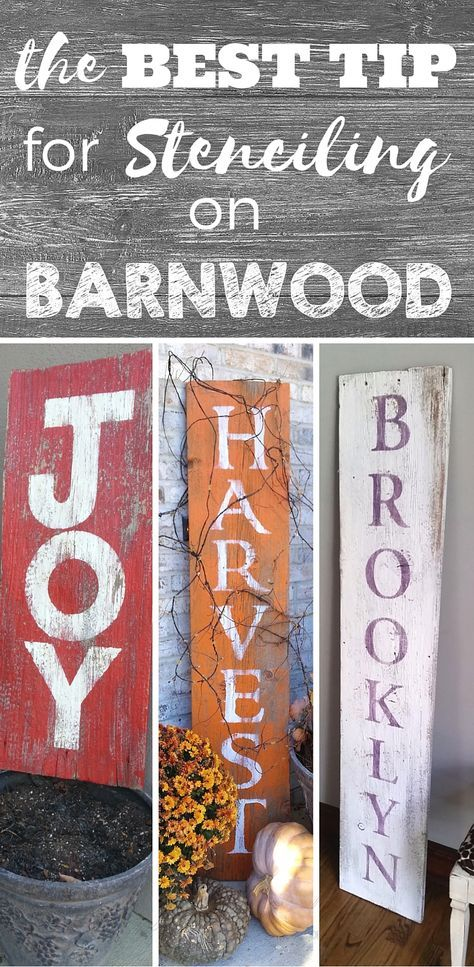 My best tip for stenciling on barnwood. How to stencil letters on wood and make your own farmhouse decor. Painting Tips, Design Advice, Decor Ideas and more Stencil Art at theMagicBrushinc.com