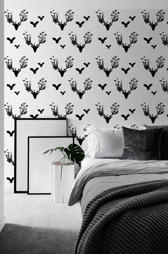 Removable Wallpaper Deer Wallpaper Peel And Stick Wallpaper Deer Wallpaper Removable Wallpaper Wall Decor