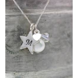 Personalised Pearl and Silver Star Necklace.