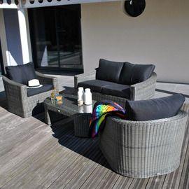 Salon bas Rio gris : canapé 2 places + table + 2 fauteuils