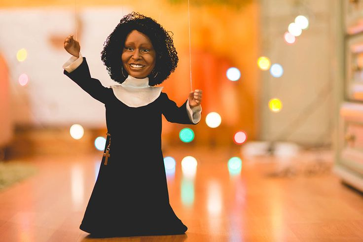 Handmade marionette of Whoopi Goldberg. To see how I formed the head and colored the face check out my youtube video: https://www.youtube.com/watch?v=UUPZsZgIilk #whoopigoldberg