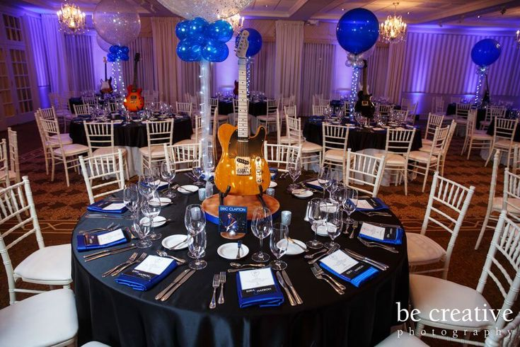 """Guitar Centerpiece Guitar Centerpiece with 36"""" Balloons, Lights"""