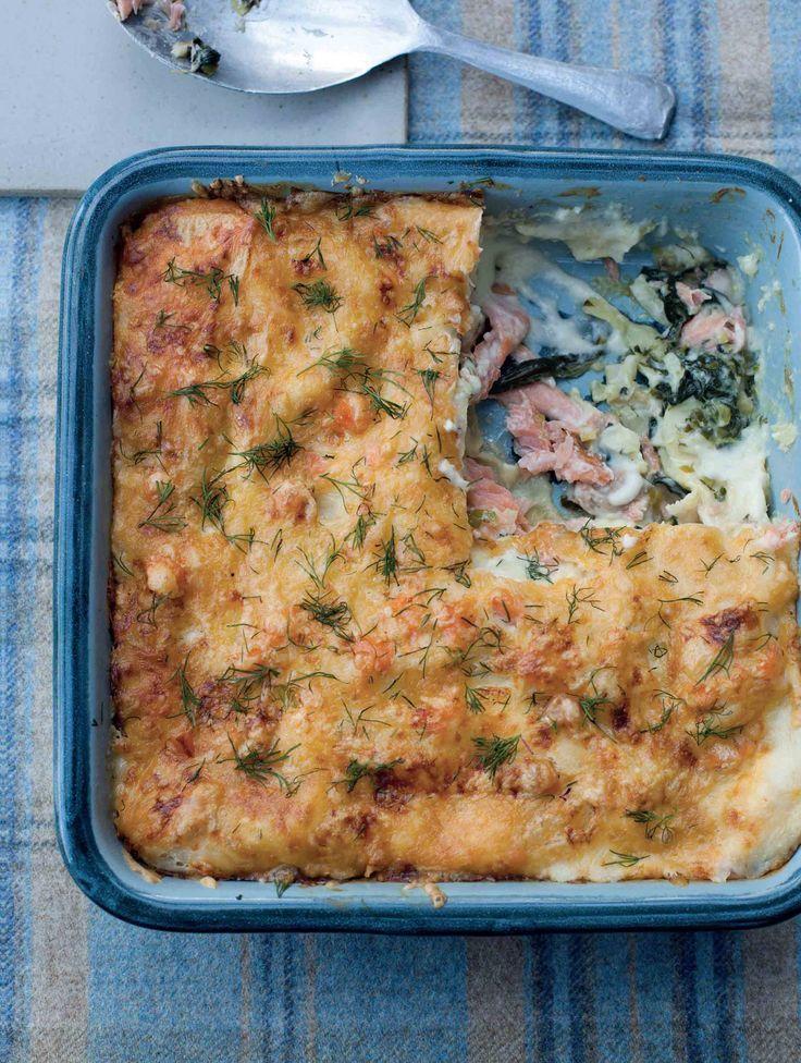 Smoked salmon and spinach lasagne recipe from Kitchin Suppers by Tom Kitchin…