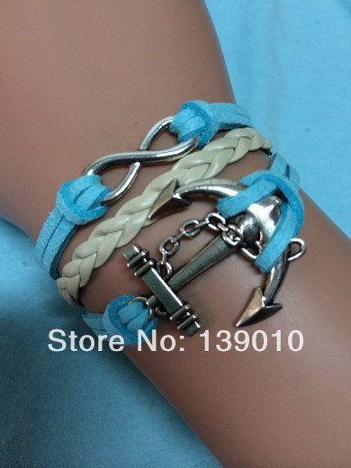 Старинное серебро бежевый синий кожа замша бесконечность якорь браслеты браслеты популярные европейский стиль женщин мужские дамы ювелирные изделия