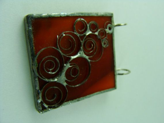 Deep Red Swirl Glass Pendant by BranchingHope on Etsy