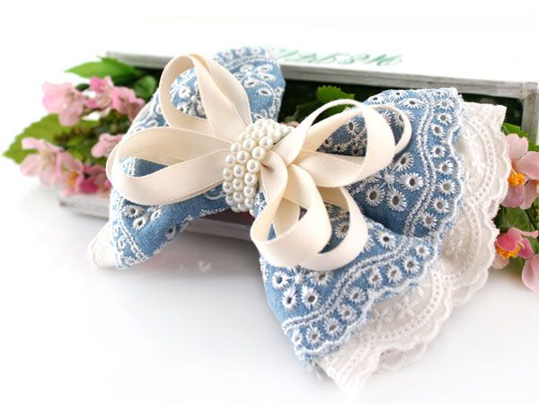 fabric lace bow clip                                                                                                                                                                                 More
