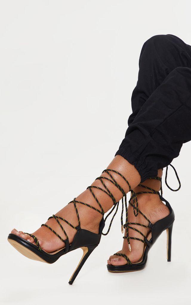 5a88d23d797 Black Rope Tie Heeled Sandal | Things to wear in 2019 | Tie heels ...