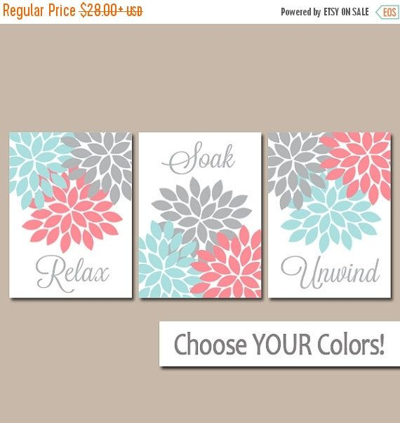 ❘❘❙❙❚❚ ON SALE ❚❚❙❙❘❘     ★Aqua Coral Gray BATHROOM Wall Art, CANVAS or Prints Bathroom Artwork, Flower Burst Art Relax Soak Unwind Floral Bathroom Set of 3 Home Decor  ★Includes 3 pieces of wall art ★Available in PRINTS or CANVAS (see below)  ★SIZING OPTIONS Available from the drop down menu above the add to cart button with prices. >>>  ★PRINT OPTION Available sizes are 5x7, 8x10, & 11x14 (inches). Prints are created digitally and printed with UltraChrome Hi-Gloss ink on professional 68lb…