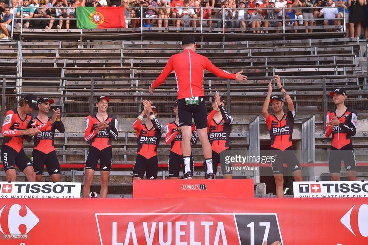 #LV2017 72nd Tour of Spain 2017 / Stage 1 Podium / Team BMC Racing Team (USA)/ Damiano CARUSO (ITA)/ Alessandro DE MARCHI (ITA)/ Team BMC Racing Team (USA) Rohan DENNIS (AUS) Red Leader Jersey / Kilian FRANKINY (SUI)/ Daniel OSS (ITA)/ Nicolas ROCHE (IRL)/ Loic VLIEGEN (BEL)/ Tejay VAN GARDEREN (USA)/ Francisco Jose VENTOSO (ESP)/ Celebration / Nimes - Nimes (13,7km)/ Team Time Trial / TTT / La Vuelta /