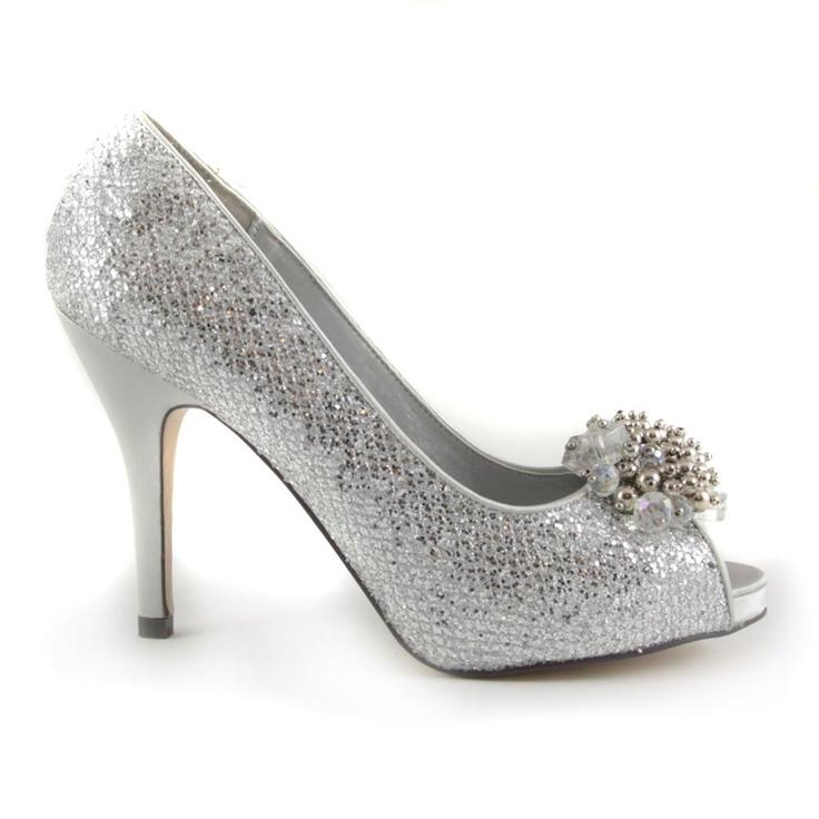 e33e0fb5286c Buy Paco Mena Sparkling Silver Peep Toe High Heels with beaded detail