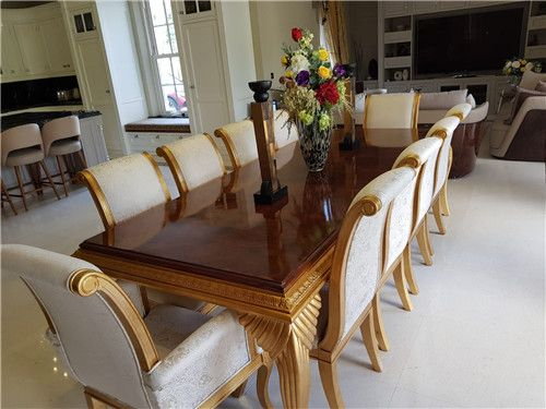 Luxury Long Big 10 12 14 16 18seater Chairs Carved Gold High Gloss Veneer Dining Table Set Dining Table Round Dining Table Sets Kitchen Table Settings Dining room tables that seat 16