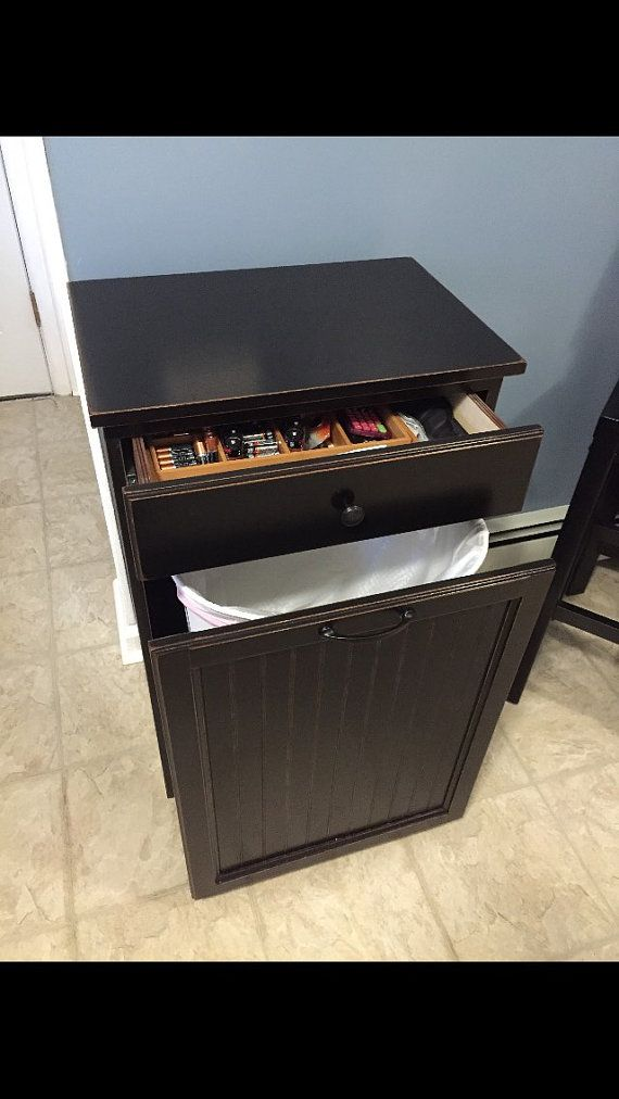 Tall Kitchen Trash Can Cabinet with Drawer by