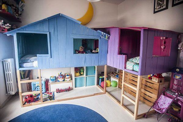 Imagine climbing up into your own little house each night to bed. Photo: Ikeahackers.com ++ see more Ikea Kura bunk bed hacks