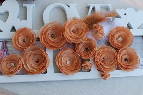 Flowers Peach beige Wedding decoration light by FleursProvence
