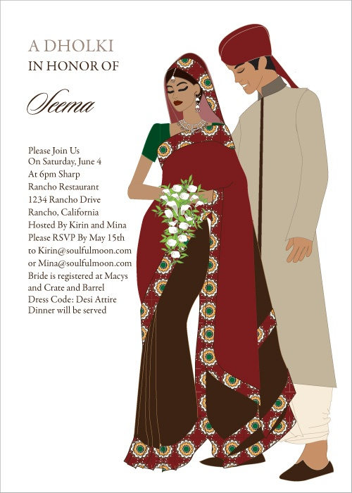 Sari Couple Indian Bridal Shower Invitations by # ...