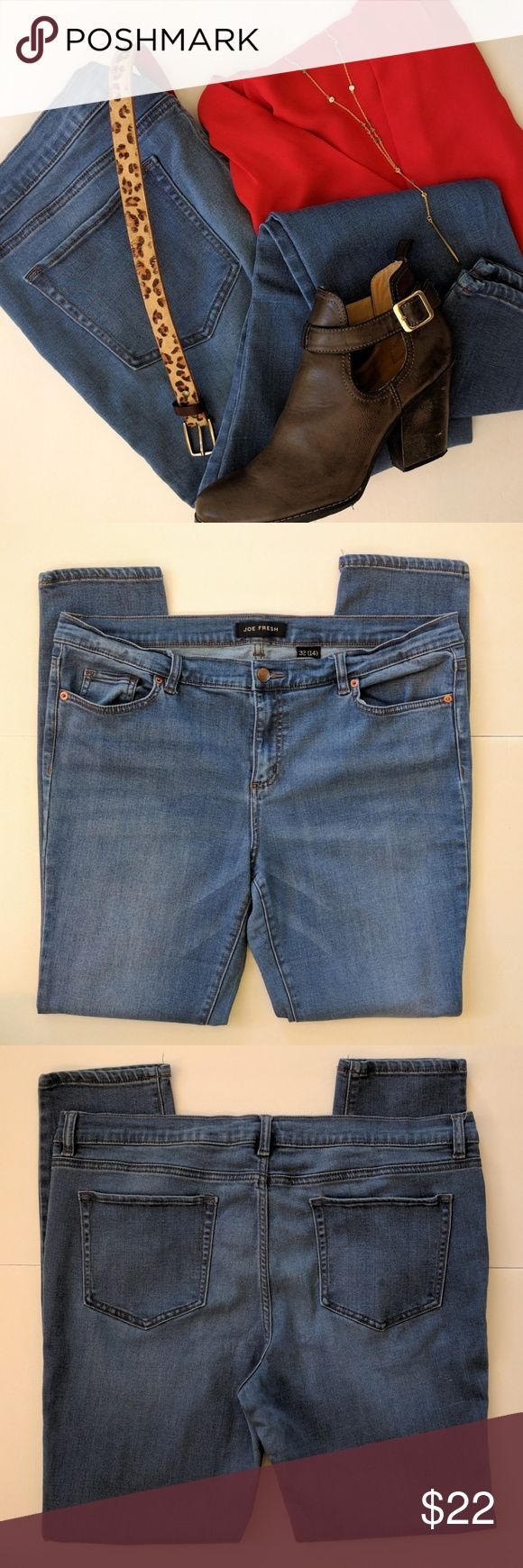Joe Fresh Low Rise Skinny Jeans Size 14 These Joe Fresh Low Rise Leggings and in like new condition in a great lighter medium wash. Super comfortable and flattering! Size 14 Joe Fresh Jeans Skinny