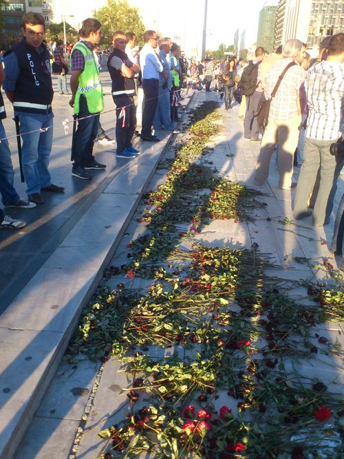 """Red carnations left on the steps of Gezi Park, now occupied by police instead of protestors. The """"Carnation Protest"""" was met by riot police. June 22, 2013."""