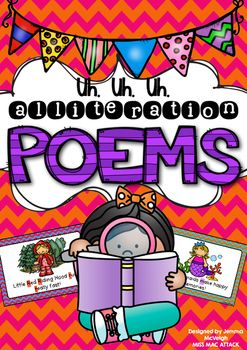 40 x Alliteration Poem Cards6 x large Tongue Twister Alliteration Poem CardsThese poem cards were designed to teach alliteration poems. Alliteration poems are poems where a consonant sound is repeated e.g. Silly Sam slipped on something sloppy.Included in this resource are 40 short alliteration poem cards.