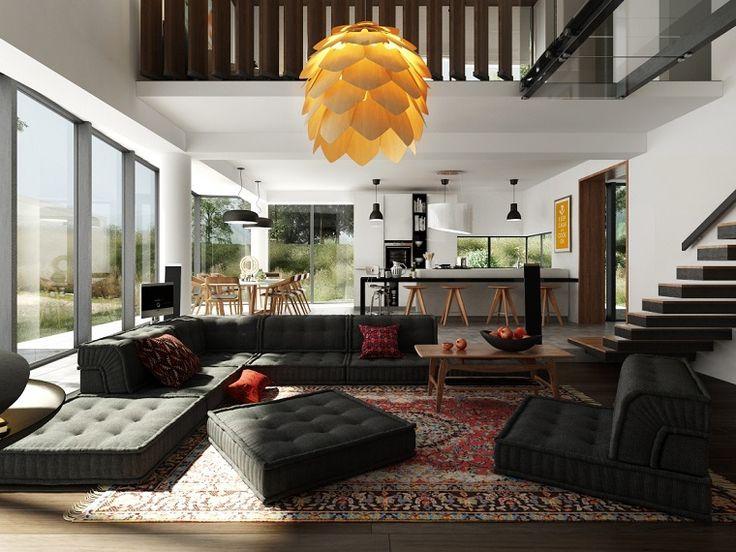 cocina abierta al salón con isla y taburetes de madera