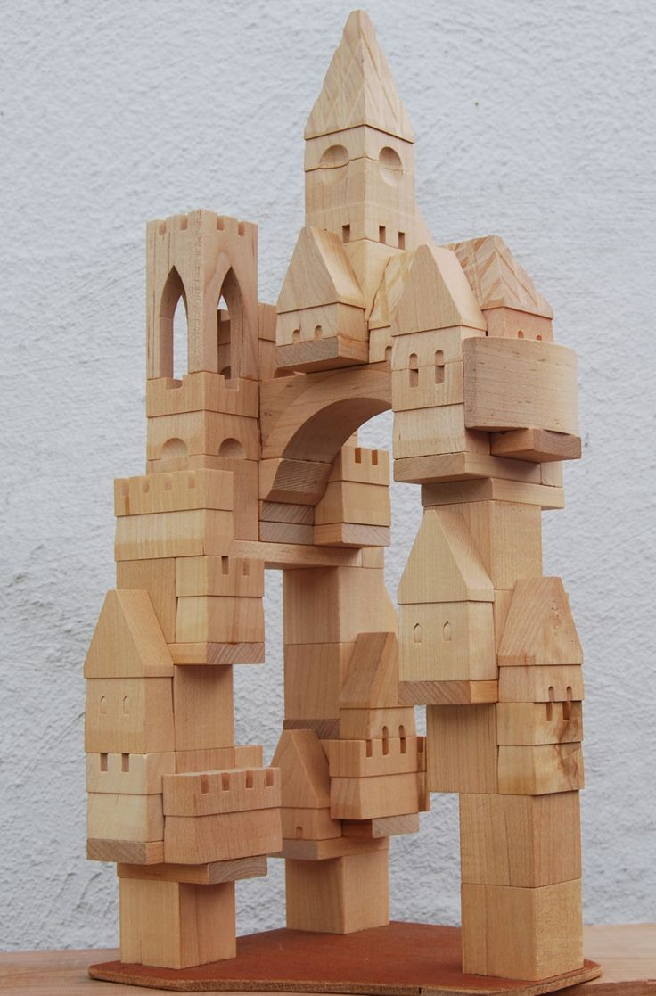 """ Handmade wooden toy Castle building blocks """