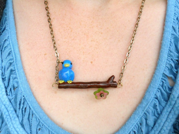 Cute bird on branch polymer clay necklace