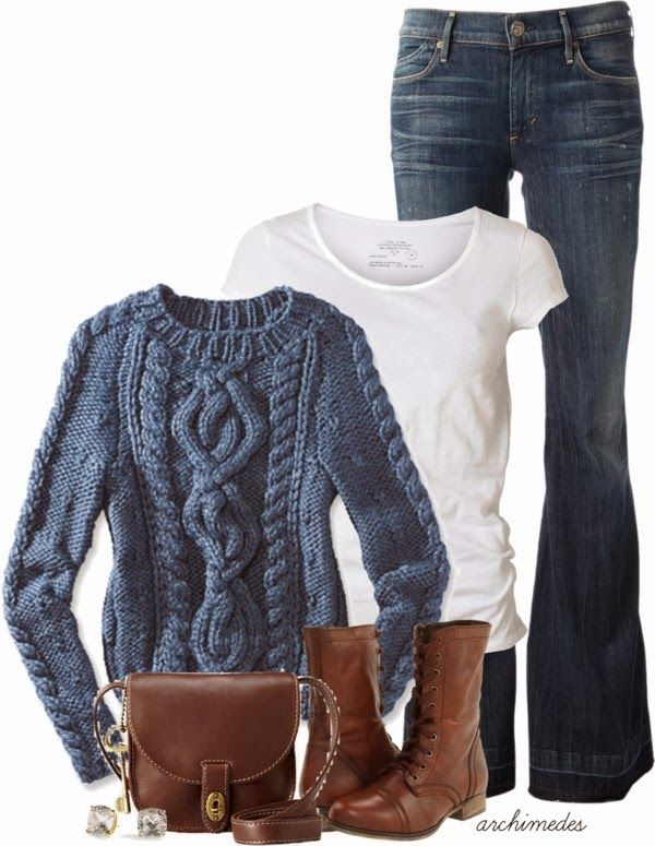 Get Inspired by Fashion: Casual Outfits | Knitted Sweater find more women fashion on www.misspool.com
