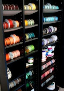 CD/DVD tower for ribbon storage, great idea to adjust shelves so the spools don't roll away =)
