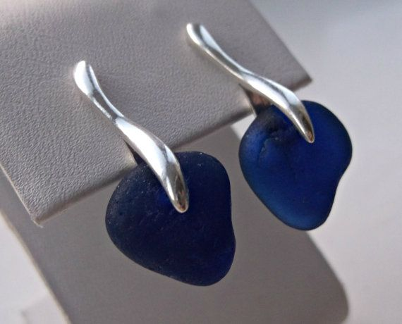Deep Blue Sea Glass Sterling Silver Earrings by SeahamWaves, £16.00