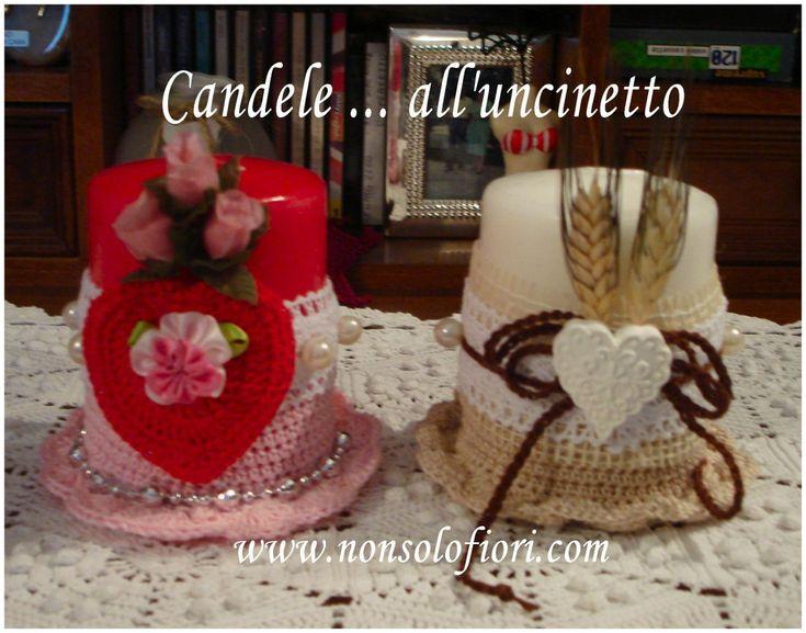Candele ... all'uncinetto  www.nonsolofiori.com #candele #uncinetto #velas #crochet #fioriuncinetto #ganchillo #candles #flowers